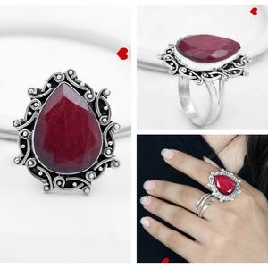 Pear Ruby Natural Stone Ring